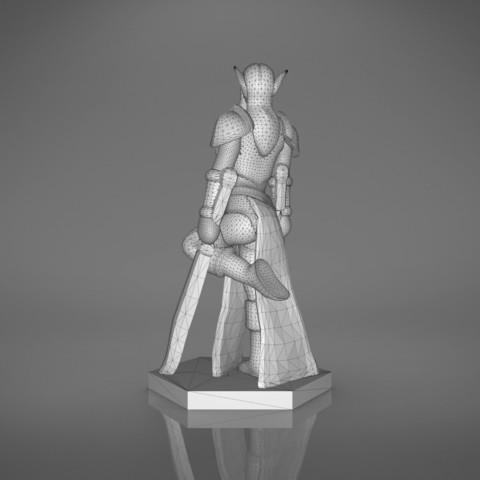 Warrior_2-back_perspectivve.335.jpg Download STL file ELF WARRIOR FEMALE CHARACTER GAME FIGURE 3D print model • 3D printing object, 3D-mon