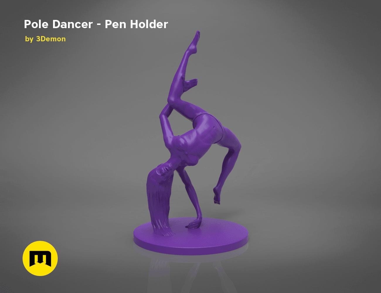 poledancer-front.153.png Download STL file Pole Dancer - Pen Holder • Object to 3D print, 3D-mon
