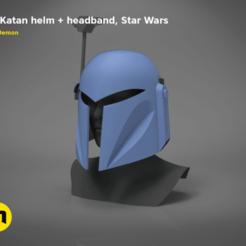 KEYSHOT-SCENA-2020_bokatan_barevne-main_render.191.png Télécharger fichier STL Casque et bandeau Bo-Katan - Starwars • Objet pour impression 3D, 3D-mon