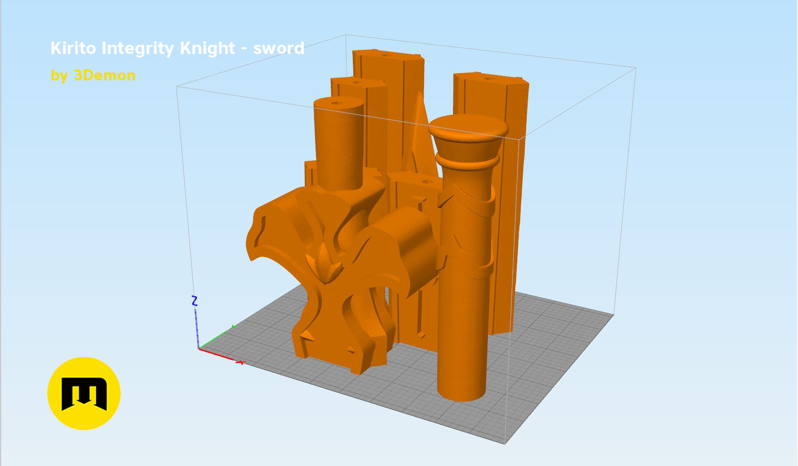 Kirito-sword-parts kopie.jpg Download STL file Kirito's Sword - Integrity Knight • 3D print model, 3D-mon