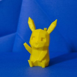 Download STL file Pikachu cute low-poly Pokemon • 3D printing model, 3D-mon