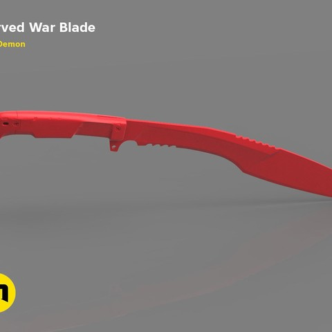 Download 3D printer designs Curved War Blade, 3D-mon