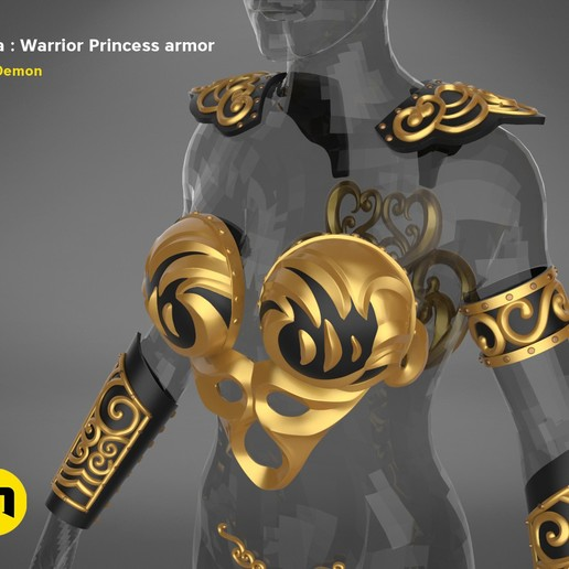 render_scene_Xena-armor-color.3.jpg Download STL file Xena - Warrior Princess cosplay armor • 3D print template, 3D-mon