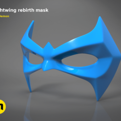 Download 3D printing designs Nightwing Rebirth mask, 3D-mon