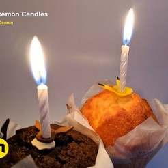 Free 3D printer designs Pokemon Bithday Candles - Pikachu and Eevee, 3D-mon