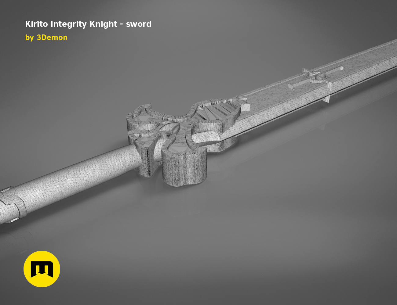 render_scene_Integrity-knight-sword-mesh.20 kopie.jpg Download STL file Kirito's Sword - Integrity Knight • 3D print model, 3D-mon
