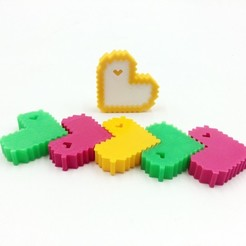 Free STL Minecraft heart_Low poly Valentine model, 3D-mon