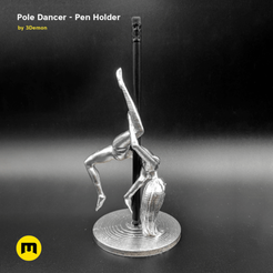 exposure_main_silver_square_pole_dancer.png Download STL file Pole Dancer - Pen Holder • Object to 3D print, 3D-mon