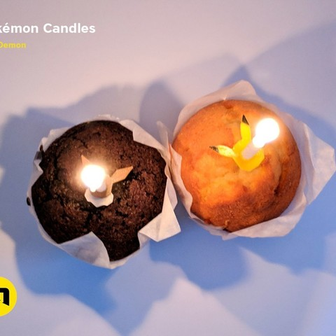 67b771345683d65c4846a9f760b0c4e6_display_large.jpg Download free STL file Pokemon Bithday Candles - Pikachu and Eevee • Object to 3D print, 3D-mon