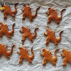 Download free 3D printing models Godzilla Cookie Cutters, 3D-mon
