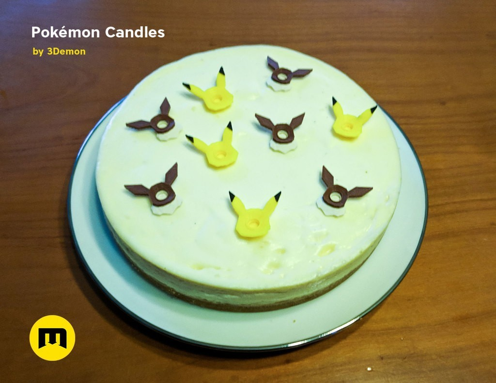 543e86d642381ee56bcf77897c6973d2_display_large.jpg Download free STL file Pokemon Bithday Candles - Pikachu and Eevee • Object to 3D print, 3D-mon