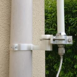 Modèle 3D Fixation antenne légère pour tube de descente de gouttière (Ø 80 mm), STEPHANE