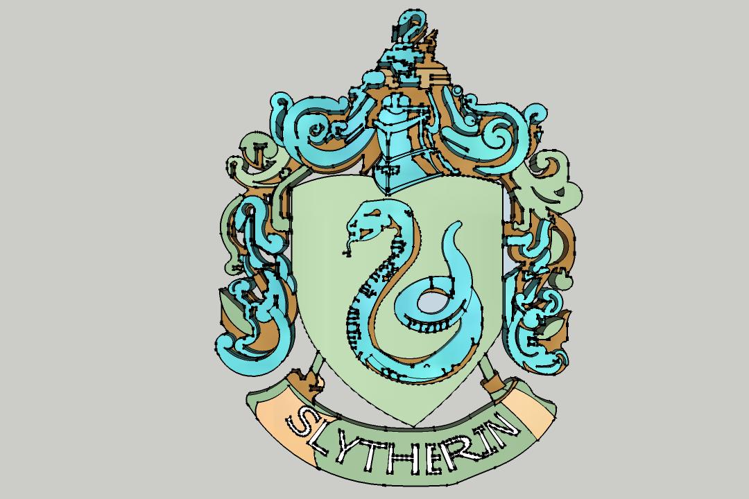 Slytherin.png Download STL file Harry Potter - Slytherin Necklace / Slytherin Pendant • 3D print model, 3ID
