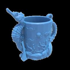 Télécharger objet 3D Tasse Hippocampe et Fond Marin, Dantego