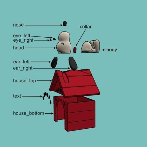 snoopy assembly.jpg Download free STL file Snoopy • 3D printable design, reddadsteve