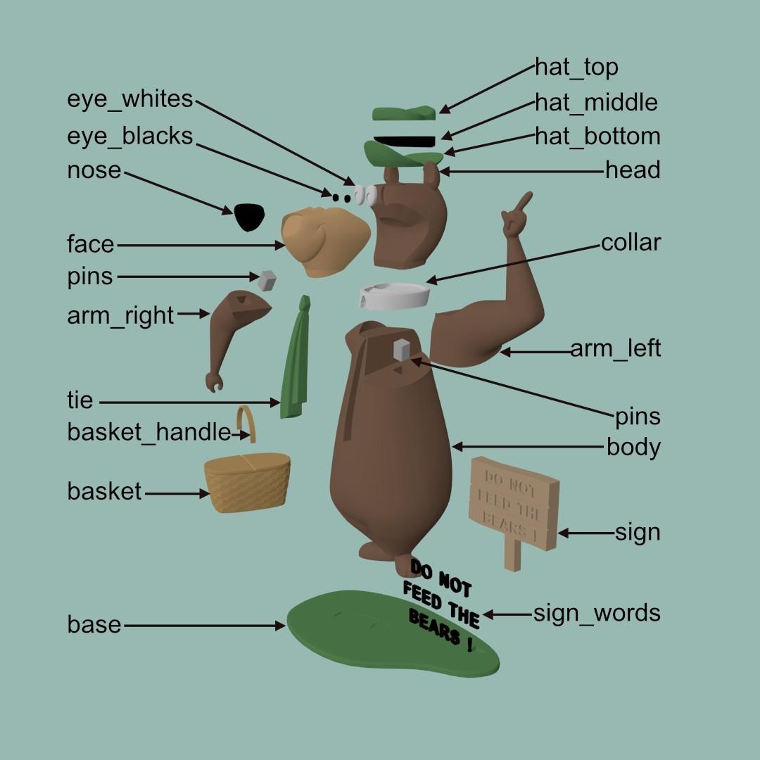 yogi assembly1.jpg Download free STL file Yogi Bear • 3D printable object, reddadsteve