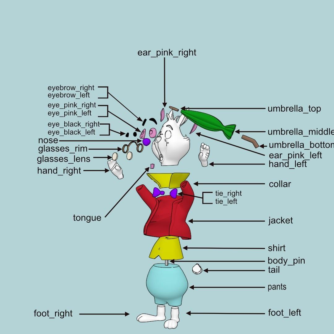 rabbit assembly1.jpg Download free STL file White Rabbit • 3D printer model, reddadsteve