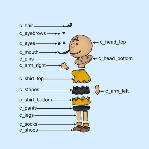 charlie assembly1.jpg Download free STL file Charlie Brown • 3D printable design, reddadsteve