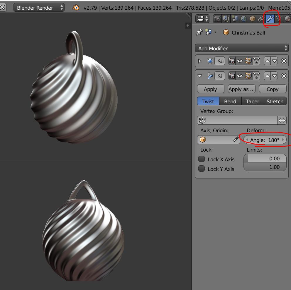 Twist180.PNG Télécharger fichier STL gratuit Boule de Noël - personnalisez et imprimez la vôtre • Objet pour impression 3D, Valdis