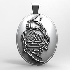Valkunt wolf .1.jpg Download STL file Valknut wolf pendant • 3D printer template, Majs84