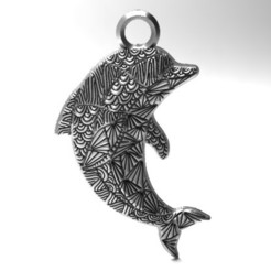 Dolphin mandala zentangle pendant 1.jpg Download STL file Dolphin mandala zentangle pendant 1 • 3D printing design, Majs84