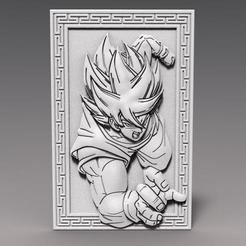 Goku bas-relief 1.1.jpg Download STL file Goku dragon ball bas-relief CNC • 3D printable object, Majs84
