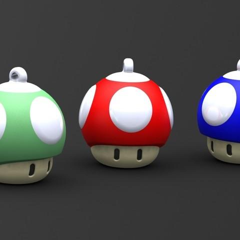 Imprimir en 3D Mushroom 1up Keychain, Majs84