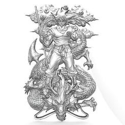 Goku 3 cnc.1.jpg Download STL file Goku bas-relief 3 CNC • 3D printer template, Majs84