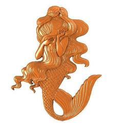 Mermaid 1.1.jpg Download STL file Mermaid bas-relief • 3D printer model, Majs84