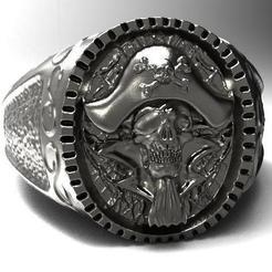 Pirate skull ring .1.jpg Download STL file Pirate skull ring • Model to 3D print, Majs84
