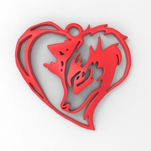 Modelos 3d Para Imprimir Colgante De Corazón De Lobo Cults