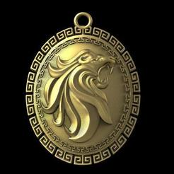 Lion pendant 5.1.jpg Download STL file Lion pendant 5 • 3D print design, Majs84
