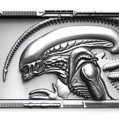 Alien bas-relief .1.jpg Download STL file Alien bas-relief CNC • 3D printer template, Majs84