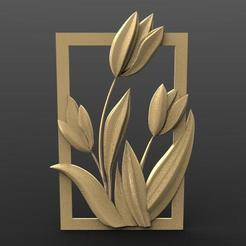 Flowers bas-relief 1.1.jpg Download STL file Flowers • 3D printable object, Majs84