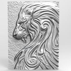 Leon 4 bas-relief .1.jpg Download STL file Lion 4 bas-relief CNC • 3D printable design, Majs84
