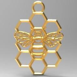 honeycomb bee pendant 1.1.jpg Download STL file honeycomb bee pendant • Template to 3D print, Majs84
