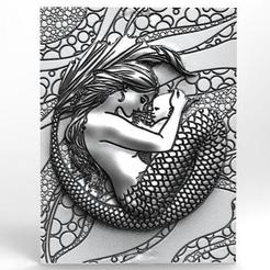 Mermaid 3 CNC .1.jpg Download STL file Mermaid With Her Baby CNC • Model to 3D print, Majs84