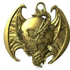Dragon skull pendant .1.jpg Télécharger fichier STL Pendentif crâne de dragon • Objet imprimable en 3D, Majs84