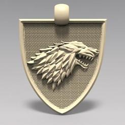 Stark pendant .1.jpg Download STL file Game of thrones Stark pendant • 3D printable template, Majs84