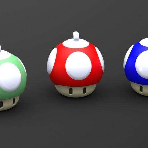 Mushroom keychain.JPG Download STL file Mushroom 1up Keychain • 3D printing template, Majs84