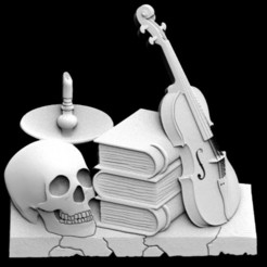 Violin and books 1.1.jpg Download STL file Violin and books • 3D printable object, Majs84