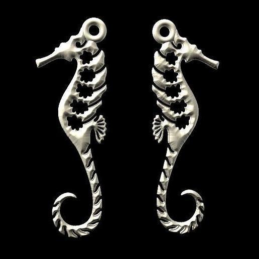 Download 3D printing designs Sea horse earrings, Majs84