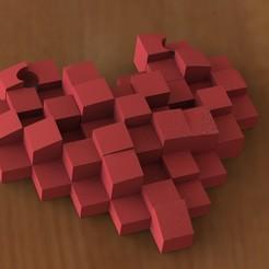 Télécharger objet 3D Pendentif coeur Pixel, Majs84
