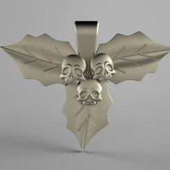 Skull leaves .1.jpg Download STL file Skull leaves pendant • 3D printable template, Majs84