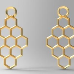 Hexagon earrings 1.1.jpg Download STL file Hexagon earrings • 3D print design, Majs84