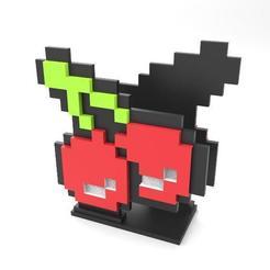Cherry pixel napkin holder .1.jpg Télécharger fichier STL Porte-serviette en pixel cerise • Modèle imprimable en 3D, Majs84