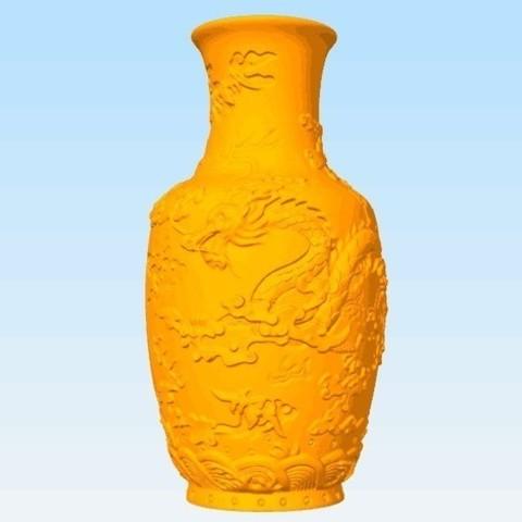 Free stl file Vase of Dragon Pattern, stronghero3d