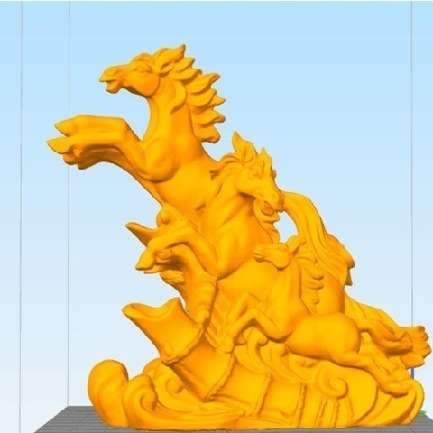 Download free STL Running horses, stronghero3d