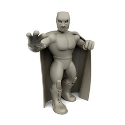 El Santo - Grey - Front.jpg Download STL file Mexican Wrestler El Santo • 3D print object, ralphzoontjens