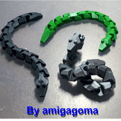 Free 3D printer designs A snake in two length versions, amigapocket